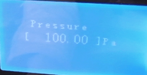 "Press ""CONFIRM"" button and then press ""PRE-N"" button to set ""pressure"" as 100Pa"